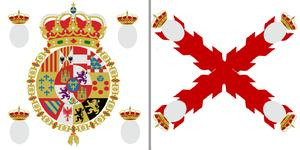 The standard Royalist banner would have different regimental arms in place of the grey circles
