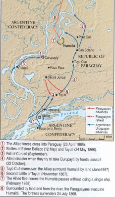 click here for larger map of Ops in southern Paraguay 1865 - 68