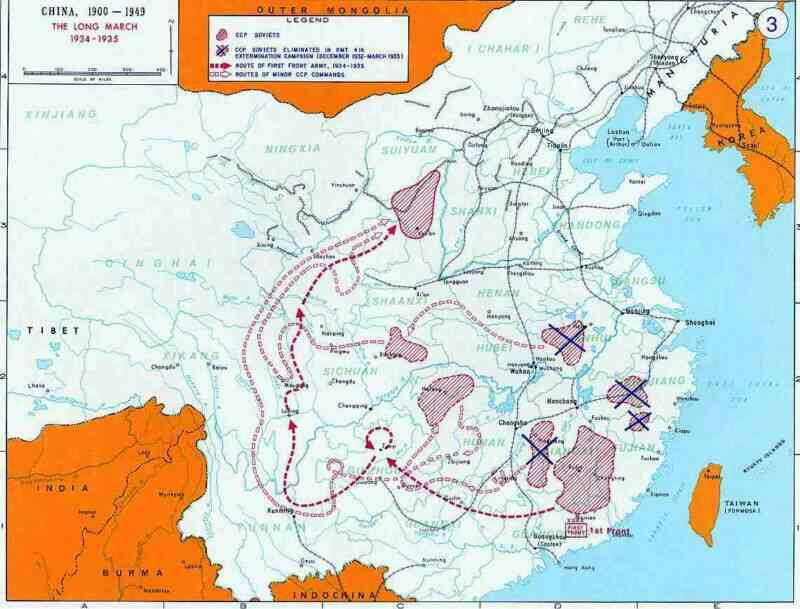 click here for larger map of the long march of Maos army 1934-5