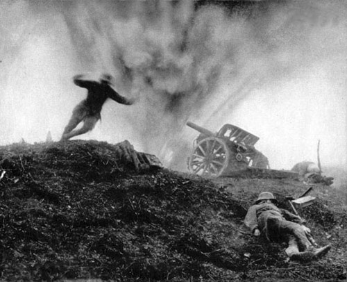 Germans are hit by counterbattery fire