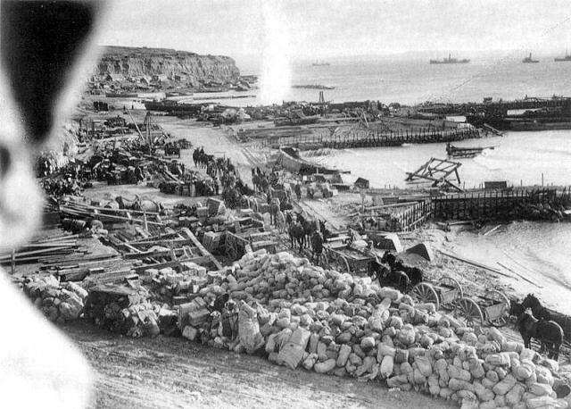 Helles beach under fire 1915