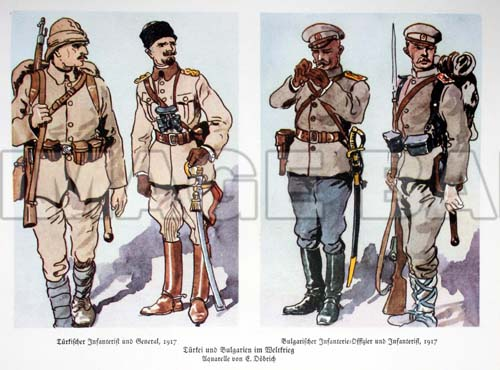 Turk - left - and Bulgarian - right - infantry of WW1