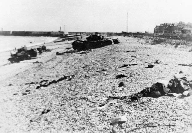 bodies and equipment litter Dieppe beach after the raid of 1942