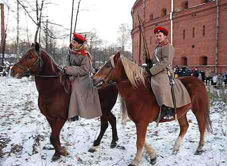 Cossack horsemen opposed the 1917 revolts in Petersburg